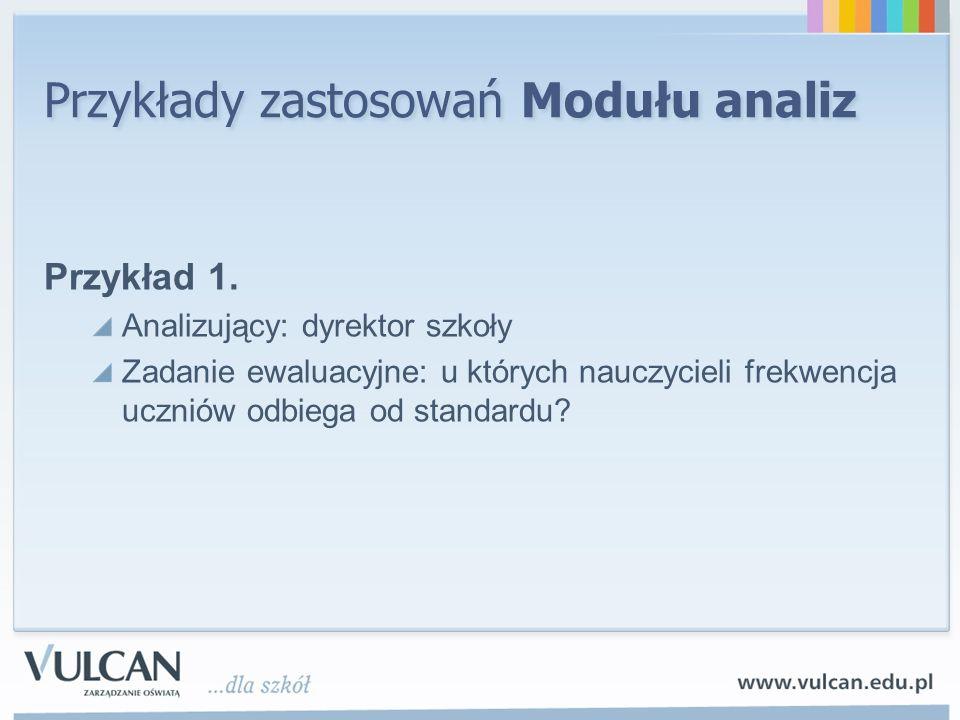 Przykłady zastosowań Modułu analiz Przykład 1.