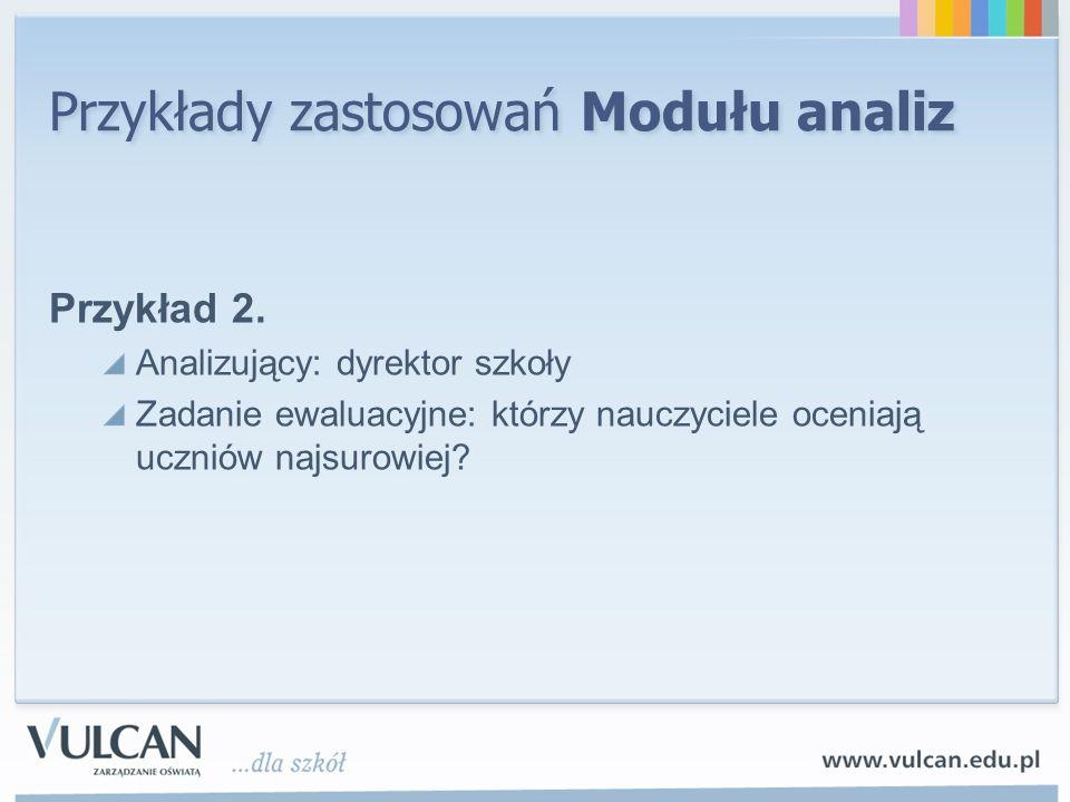 Przykłady zastosowań Modułu analiz Przykład 2.