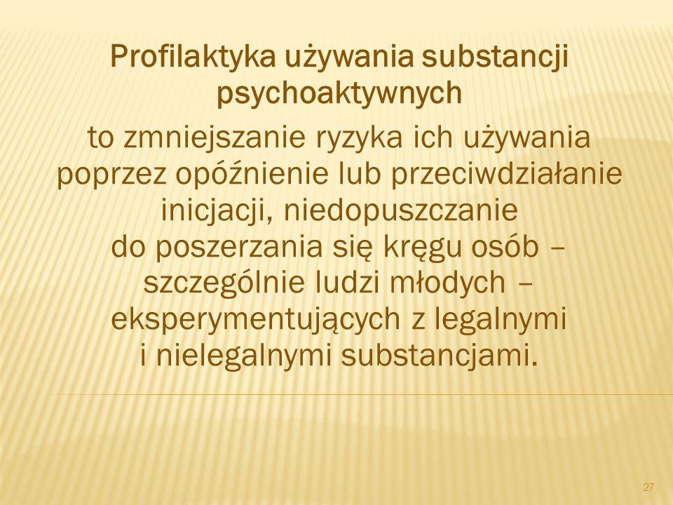 Profilaktyka używania substancji psychoaktywnych to zmniejszanie ryzyka ich używania poprzez opóźnienie lub przeciwdziałanie inicjacji, niedopuszczani