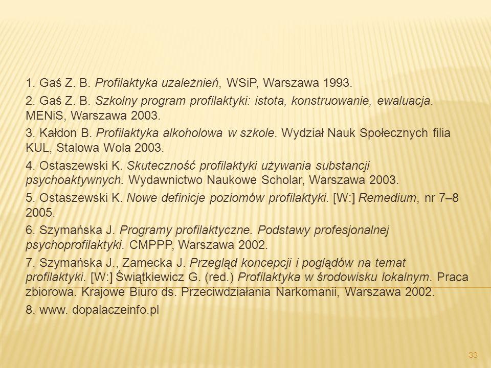1. Gaś Z. B. Profilaktyka uzależnień, WSiP, Warszawa 1993. 2. Gaś Z. B. Szkolny program profilaktyki: istota, konstruowanie, ewaluacja. MENiS, Warszaw