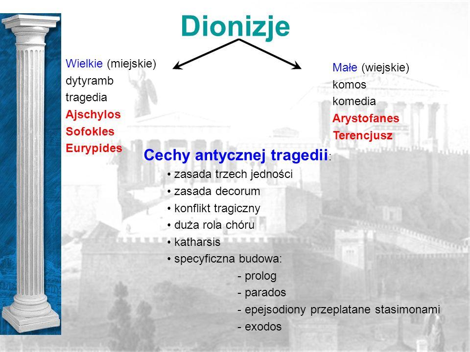Dionizje Wielkie (miejskie) dytyramb tragedia Ajschylos Sofokles Eurypides Małe (wiejskie) komos komedia Arystofanes Terencjusz Cechy antycznej traged