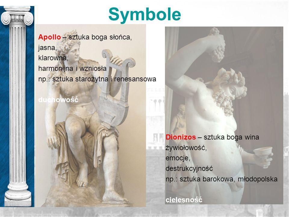 Symbole Apollo – sztuka boga słońca, jasna, klarowna, harmonijna i wzniosła np.: sztuka starożytna i renesansowa duchowość Dionizos – sztuka boga wina
