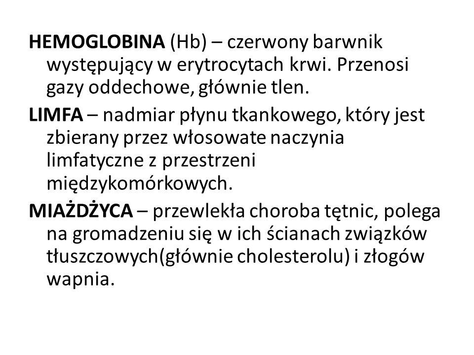 HEMOGLOBINA (Hb) – czerwony barwnik występujący w erytrocytach krwi.