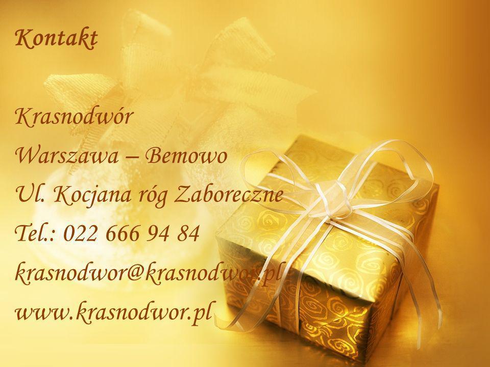 Kontakt Krasnodwór Warszawa – Bemowo Ul. Kocjana róg Zaboreczne Tel.: 022 666 94 84 krasnodwor@krasnodwor.pl www.krasnodwor.pl