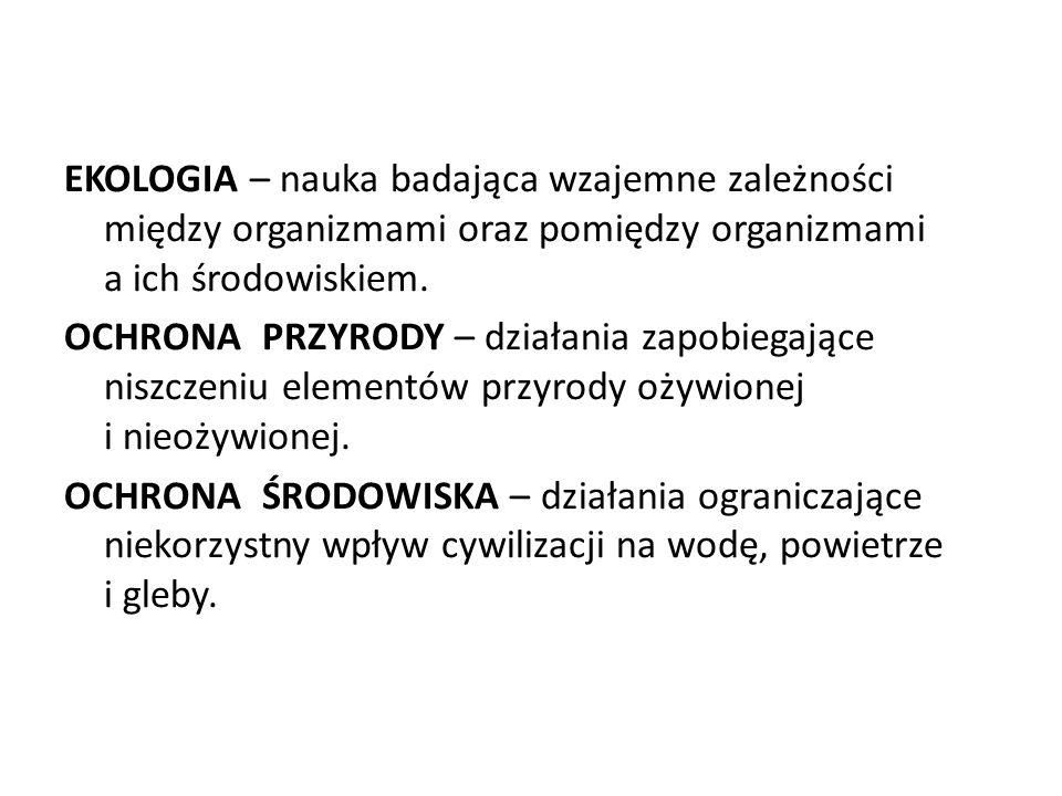 EKOLOGIA – nauka badająca wzajemne zależności między organizmami oraz pomiędzy organizmami a ich środowiskiem. OCHRONA PRZYRODY – działania zapobiegaj