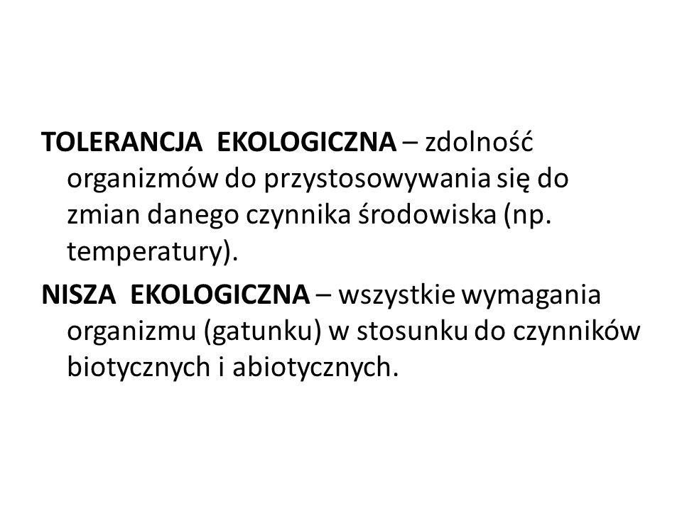 TOLERANCJA EKOLOGICZNA – zdolność organizmów do przystosowywania się do zmian danego czynnika środowiska (np. temperatury). NISZA EKOLOGICZNA – wszyst