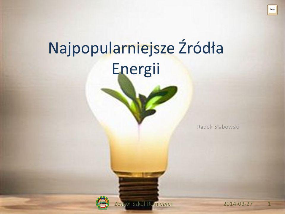Zespół Szkół Rolniczych2014-03-271 Najpopularniejsze Źródła Energii Radek Słabowski
