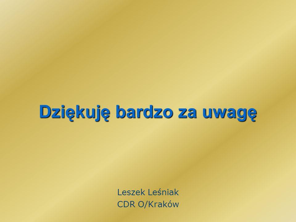 Dziękuję bardzo za uwagę Leszek Leśniak CDR O/Kraków