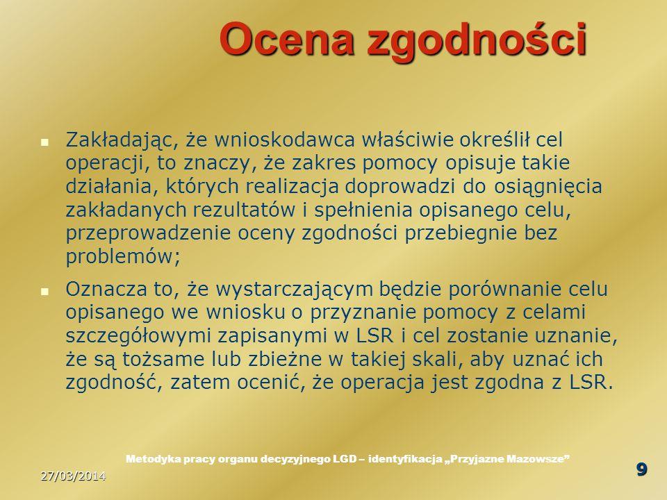 27/03/2014 20 Podsumowanie Zawsze, gdy mamy do czynienia z oceną merytoryczną występują elementy subiektywne; Nie należy się tym specjalnie przejmować, o tym należy wiedzieć, w postępowaniu kierować się przede wszystkim ogólnym kontekstem, w jakim usytuowana jest procedura oceny; Ocena ma służyć wybraniu operacji, które będą jak najlepiej przyczyniać się do osiągania celów LSR; Jeżeli mamy wątpliwości to powinniśmy kierować się zdrowym rozsądkiem - cokolwiek to pojęcie oznacza.