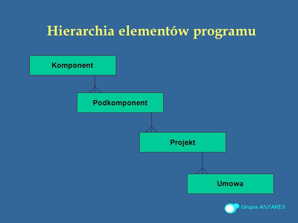 Hierarchia elementów programu Komponent Podkomponent Projekt Umowa