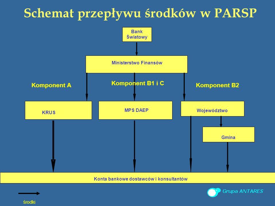 Schemat przepływu środków w PARSP Komponent A środki Bank Światowy Ministerstwo Finansów Konta bankowe dostawców i konsultantów KRUS Województwo MPS DAEP Gmina Komponent B1 i C Komponent B2