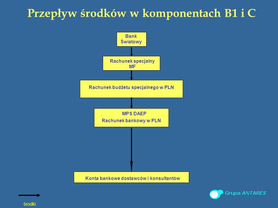 Przepływ środków w komponentach B1 i C środki Bank Światowy Rachunek budżetu specjalnego w PLN Rachunek specjalny MF Konta bankowe dostawców i konsultantów MPS DAEP Rachunek bankowy w PLN