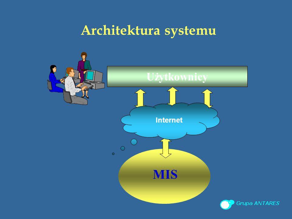 Architektura systemu MIS Użytkownicy Internet