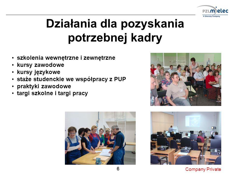 66 Działania dla pozyskania potrzebnej kadry Company Private szkolenia wewnętrzne i zewnętrzne kursy zawodowe kursy językowe staże studenckie we współ