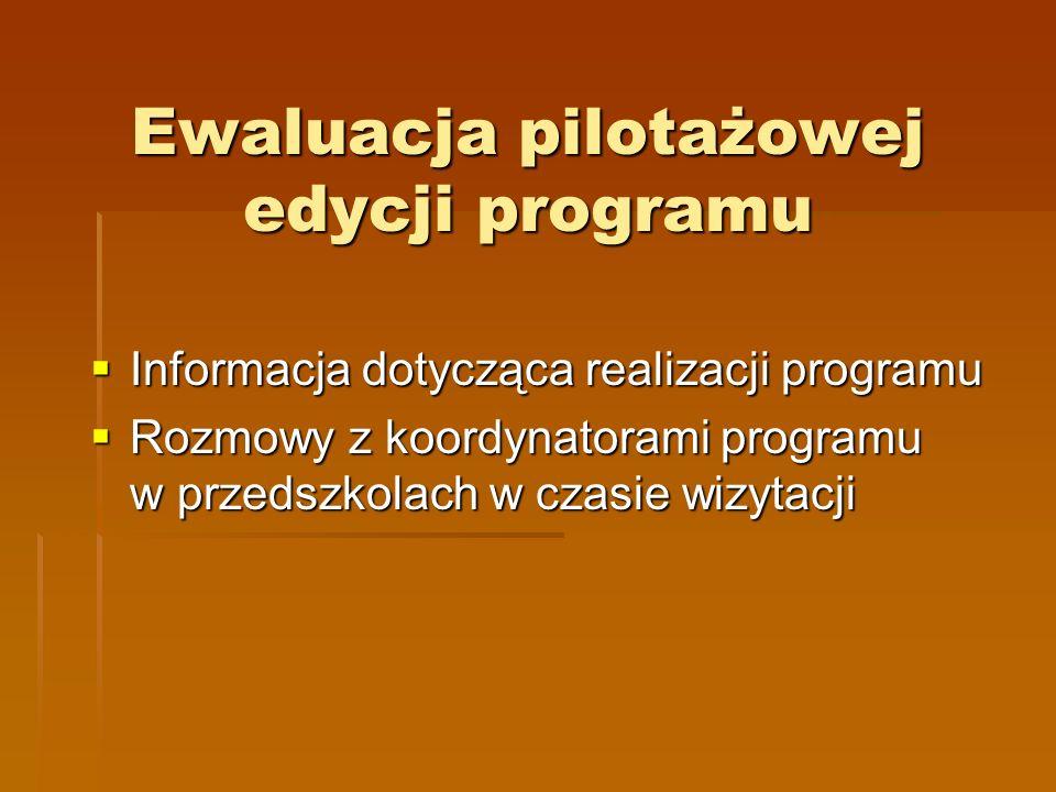 Ewaluacja pilotażowej edycji programu Informacja dotycząca realizacji programu Informacja dotycząca realizacji programu Rozmowy z koordynatorami programu w przedszkolach w czasie wizytacji Rozmowy z koordynatorami programu w przedszkolach w czasie wizytacji