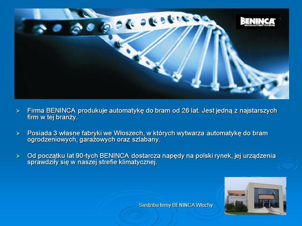 Firma BENINCA produkuje automatykę do bram od 26 lat. Jest jedną z najstarszych firm w tej branży. Firma BENINCA produkuje automatykę do bram od 26 la