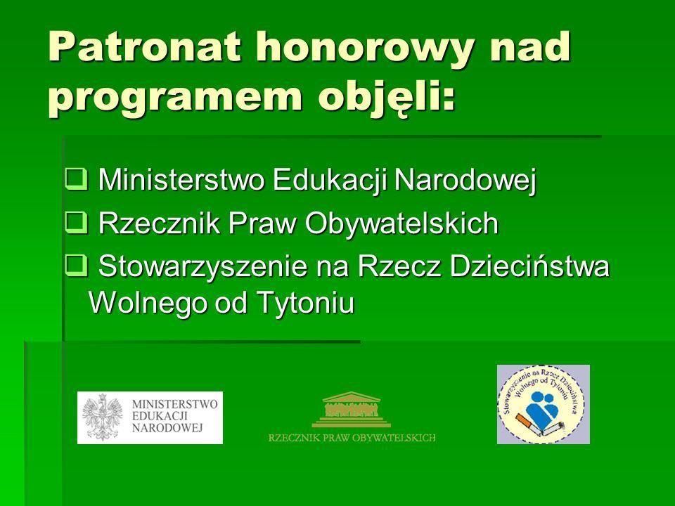 Patronat honorowy nad programem objęli: Ministerstwo Edukacji Narodowej Ministerstwo Edukacji Narodowej Rzecznik Praw Obywatelskich Rzecznik Praw Obyw