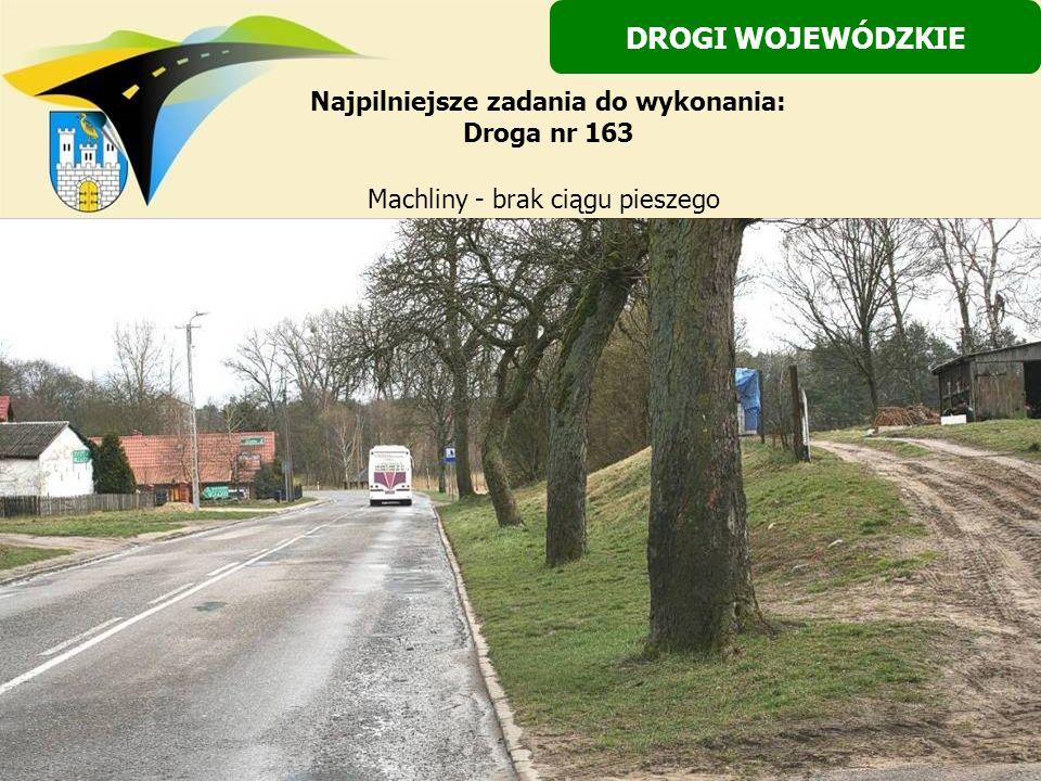 Machliny - brak ciągu pieszego DROGI WOJEWÓDZKIE Najpilniejsze zadania do wykonania: Droga nr 163