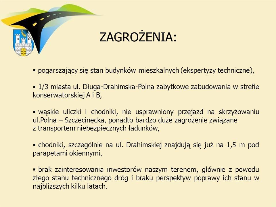 pogarszający się stan budynków mieszkalnych (ekspertyzy techniczne), 1/3 miasta ul. Długa-Drahimska-Polna zabytkowe zabudowania w strefie konserwators