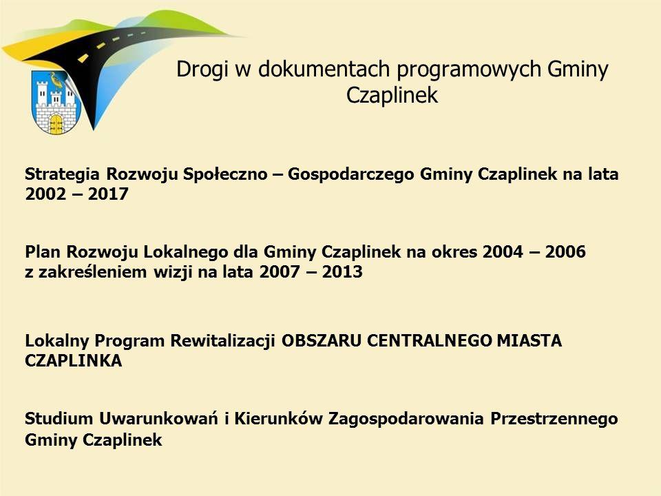 Drogi w dokumentach programowych Gminy Czaplinek Strategia Rozwoju Społeczno – Gospodarczego Gminy Czaplinek na lata 2002 – 2017 Plan Rozwoju Lokalneg