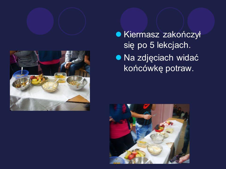 Kiermasz zakończył się po 5 lekcjach. Na zdjęciach widać końcówkę potraw.