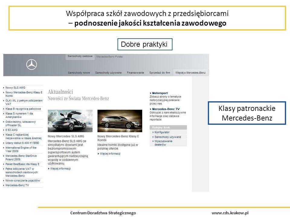Centrum Doradztwa Strategicznego www.cds.krakow.pl Współpraca szkół zawodowych z przedsiębiorcami – podnoszenie jakości kształcenia zawodowego Dobre praktyki Klasy patronackie Mercedes-Benz