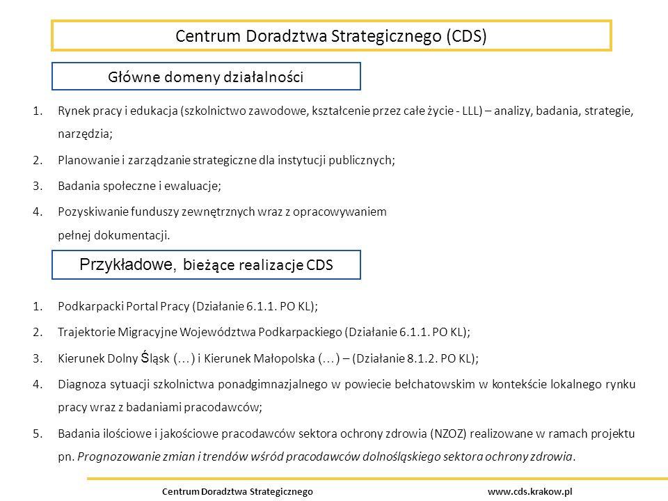 Centrum Doradztwa Strategicznego www.cds.krakow.pl Współpraca pomiędzy ponadgimnazjalnymi szkołami zawodowymi, instytucjami rynku pracy i pracodawcami Dobre praktyki