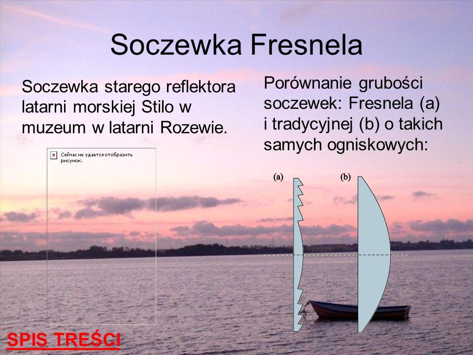 Soczewka starego reflektora latarni morskiej Stilo w muzeum w latarni Rozewie. Porównanie grubości soczewek: Fresnela (a) i tradycyjnej (b) o takich s