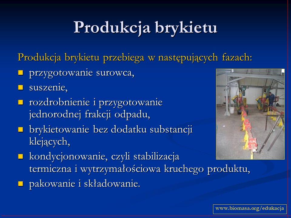 Produkcja brykietu Produkcja brykietu przebiega w następujących fazach: przygotowanie surowca, przygotowanie surowca, suszenie, suszenie, rozdrobnienie i przygotowanie jednorodnej frakcji odpadu, rozdrobnienie i przygotowanie jednorodnej frakcji odpadu, brykietowanie bez dodatku substancji klejących, brykietowanie bez dodatku substancji klejących, kondycjonowanie, czyli stabilizacja termiczna i wytrzymałościowa kruchego produktu, kondycjonowanie, czyli stabilizacja termiczna i wytrzymałościowa kruchego produktu, pakowanie i składowanie.