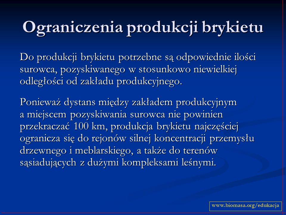 Ograniczenia produkcji brykietu Do produkcji brykietu potrzebne są odpowiednie ilości surowca, pozyskiwanego w stosunkowo niewielkiej odległości od zakładu produkcyjnego.