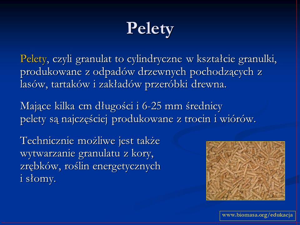 Pelety Pelety, czyli granulat to cylindryczne w kształcie granulki, produkowane z odpadów drzewnych pochodzących z lasów, tartaków i zakładów przeróbki drewna.