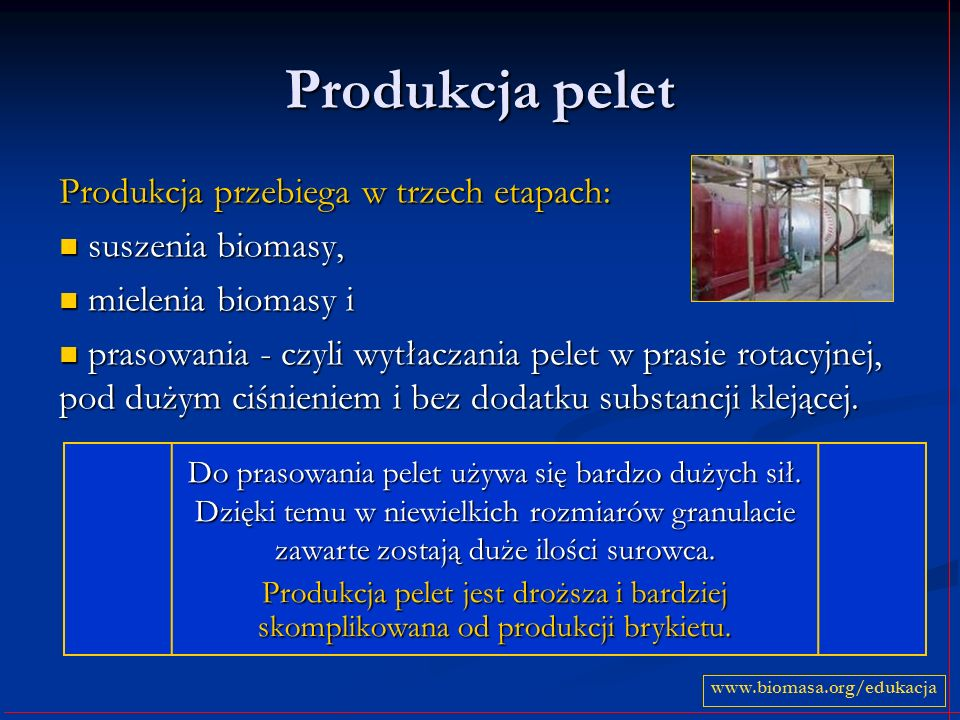 Produkcja pelet Produkcja przebiega w trzech etapach: suszenia biomasy, suszenia biomasy, mielenia biomasy i mielenia biomasy i prasowania - czyli wytłaczania pelet w prasie rotacyjnej, pod dużym ciśnieniem i bez dodatku substancji klejącej.