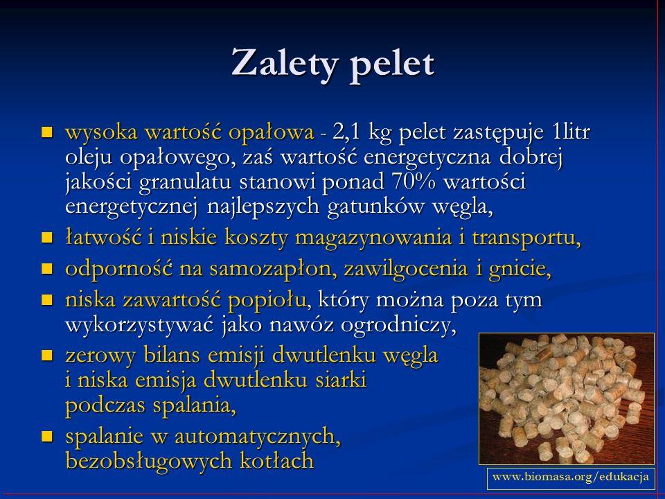 Zalety pelet wysoka wartość opałowa - 2,1 kg pelet zastępuje 1litr oleju opałowego, zaś wartość energetyczna dobrej jakości granulatu stanowi ponad 70