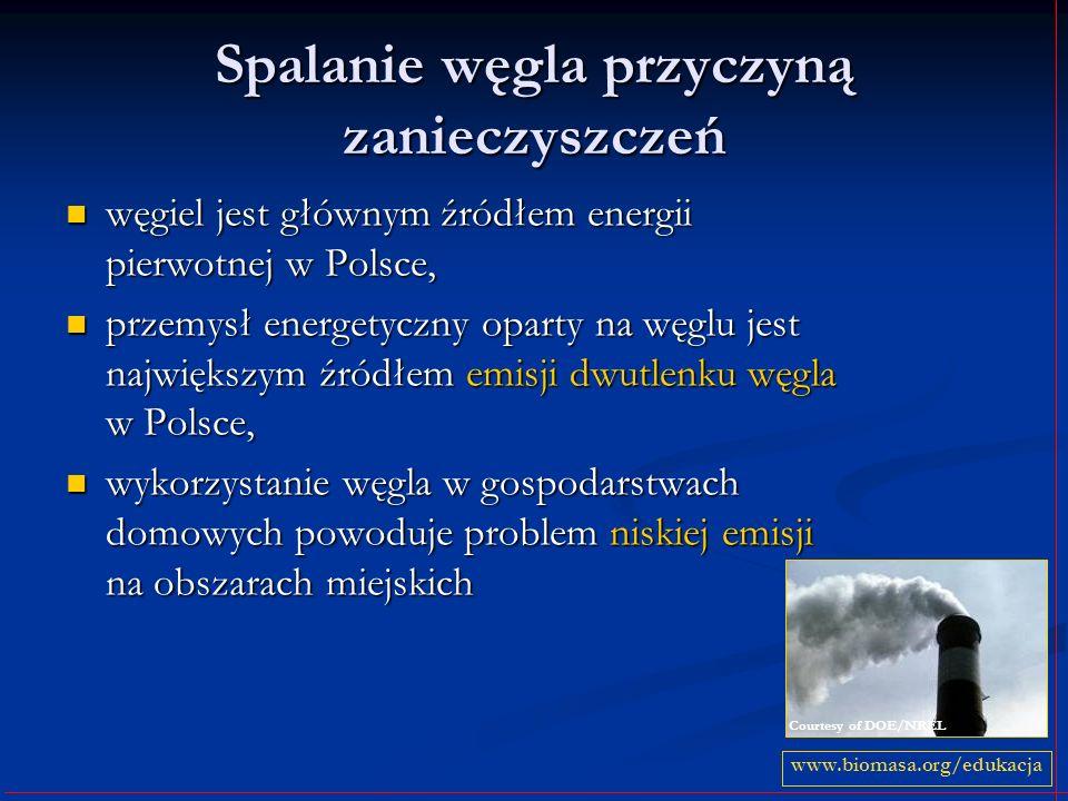 Spalanie węgla przyczyną zanieczyszczeń węgiel jest głównym źródłem energii pierwotnej w Polsce, przemysł energetyczny oparty na węglu jest największym źródłem emisji dwutlenku węgla w Polsce, wykorzystanie węgla w gospodarstwach domowych powoduje problem niskiej emisji na obszarach miejskich www.biomasa.org/edukacja Courtesy of DOE/NREL