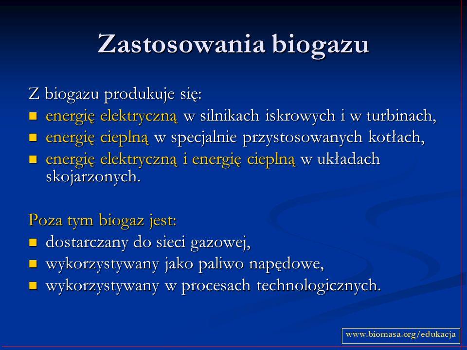 Zastosowania biogazu Z biogazu produkuje się: energię elektryczną w silnikach iskrowych i w turbinach, energię elektryczną w silnikach iskrowych i w t