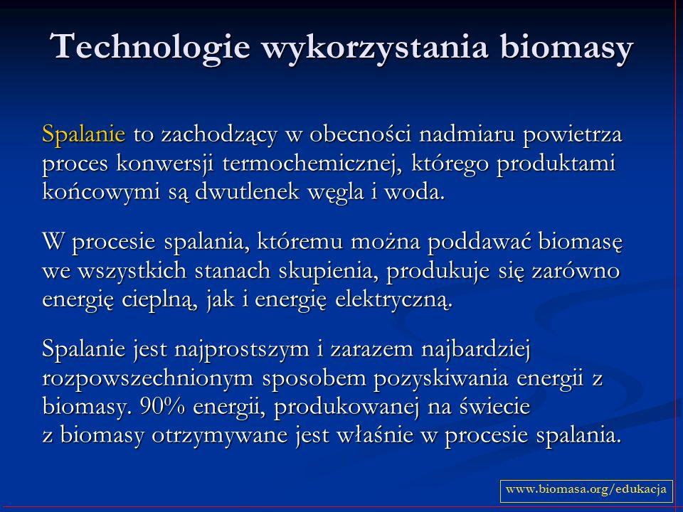 Technologie wykorzystania biomasy Spalanie to zachodzący w obecności nadmiaru powietrza proces konwersji termochemicznej, którego produktami końcowymi są dwutlenek węgla i woda.