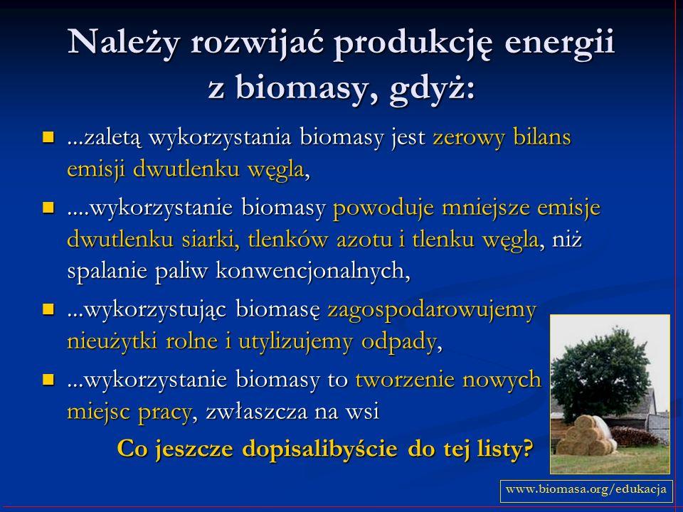 Należy rozwijać produkcję energii z biomasy, gdyż:...zaletą wykorzystania biomasy jest zerowy bilans emisji dwutlenku węgla,...zaletą wykorzystania bi