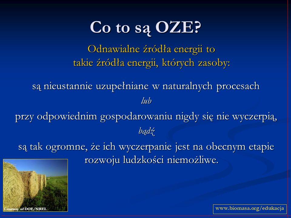 Co to są OZE? Odnawialne źródła energii to takie źródła energii, których zasoby: są nieustannie uzupełniane w naturalnych procesach lub przy odpowiedn