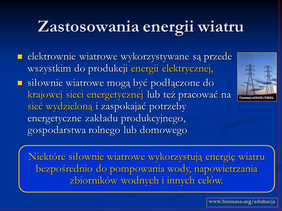 Zastosowania energii wiatru elektrownie wiatrowe wykorzystywane są przede wszystkim do produkcji energii elektrycznej, elektrownie wiatrowe wykorzysty