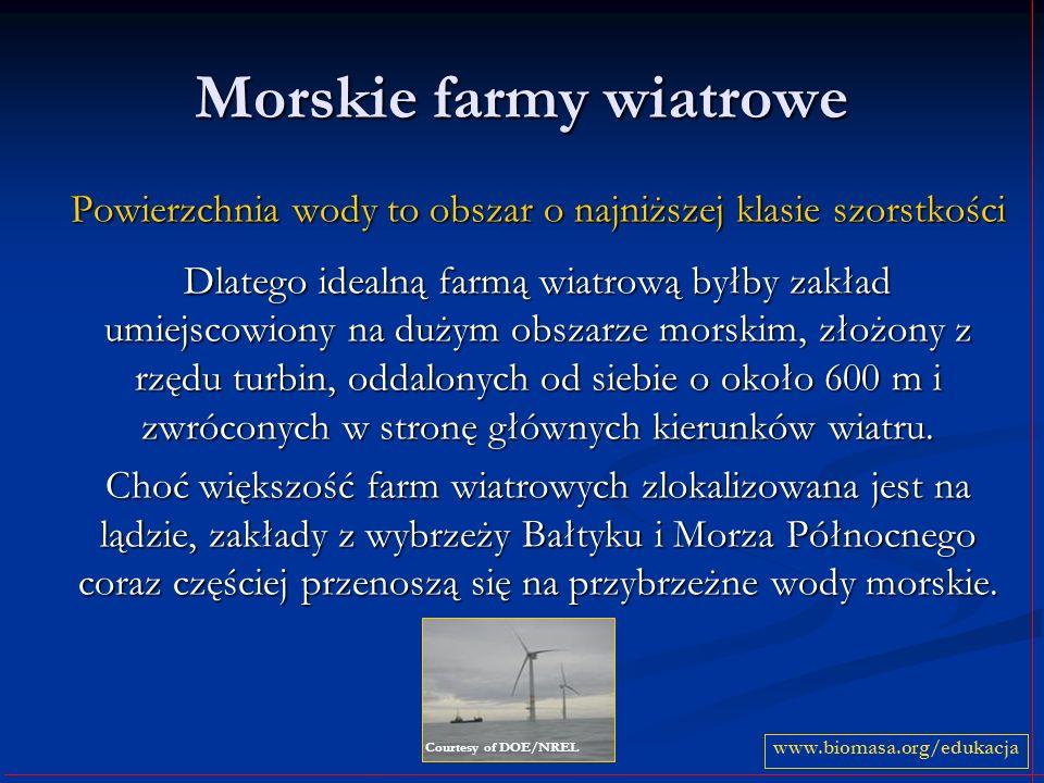 Morskie farmy wiatrowe Powierzchnia wody to obszar o najniższej klasie szorstkości Dlatego idealną farmą wiatrową byłby zakład umiejscowiony na dużym