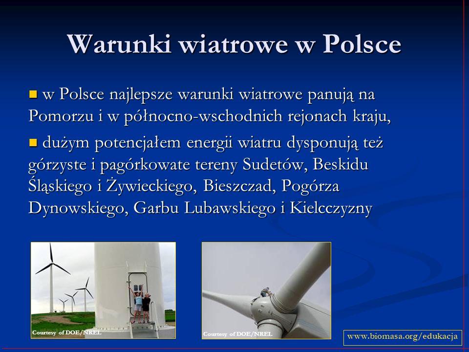 Warunki wiatrowe w Polsce w Polsce najlepsze warunki wiatrowe panują na Pomorzu i w północno-wschodnich rejonach kraju, w Polsce najlepsze warunki wia