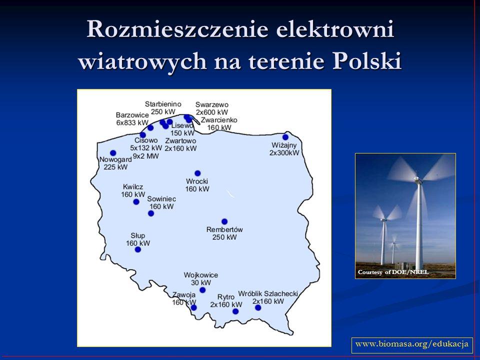 Rozmieszczenie elektrowni wiatrowych na terenie Polski www.biomasa.org/edukacja Courtesy of DOE/NREL