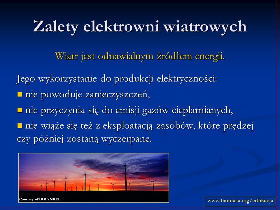 Zalety elektrowni wiatrowych Wiatr jest odnawialnym źródłem energii. Jego wykorzystanie do produkcji elektryczności: nie powoduje zanieczyszczeń, nie