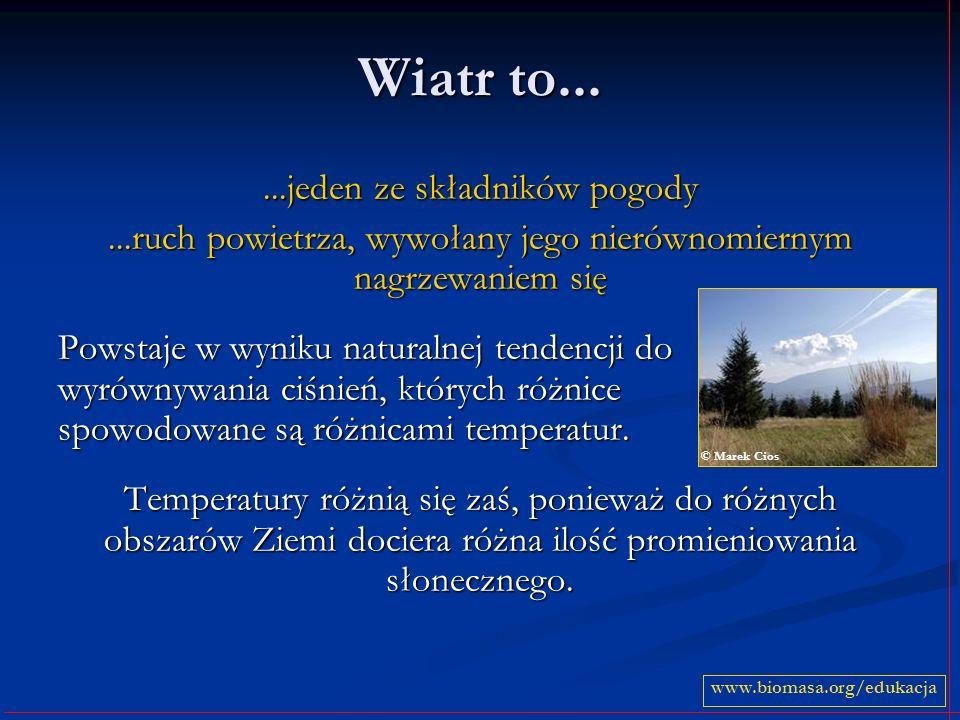 Wiatr to......jeden ze składników pogody...ruch powietrza, wywołany jego nierównomiernym nagrzewaniem się Powstaje w wyniku naturalnej tendencji do wy
