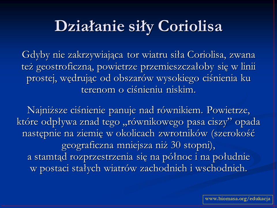 Działanie siły Coriolisa Gdyby nie zakrzywiająca tor wiatru siła Coriolisa, zwana też geostroficzną, powietrze przemieszczałoby się w linii prostej, w