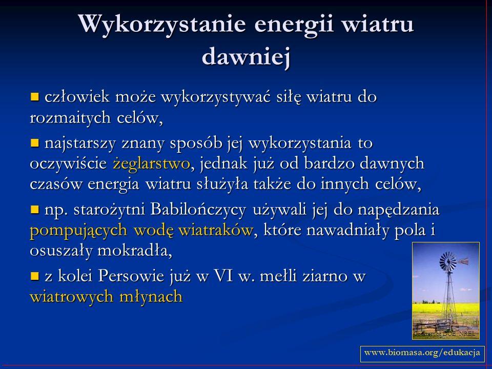 Wykorzystanie energii wiatru dawniej człowiek może wykorzystywać siłę wiatru do rozmaitych celów, człowiek może wykorzystywać siłę wiatru do rozmaityc