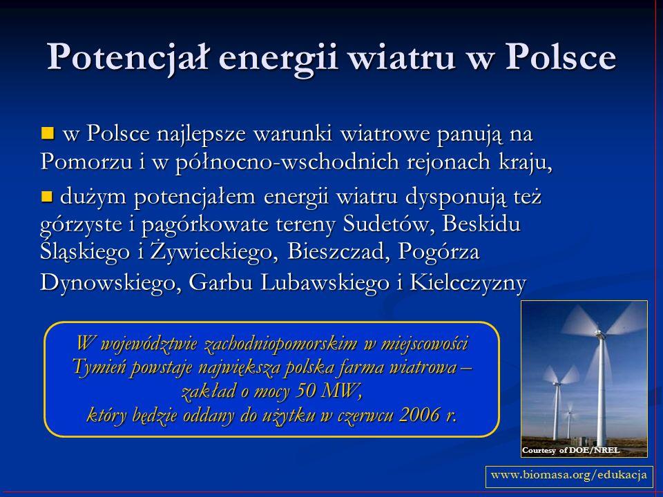 Potencjał energii wiatru w Polsce w Polsce najlepsze warunki wiatrowe panują na Pomorzu i w północno-wschodnich rejonach kraju, w Polsce najlepsze war