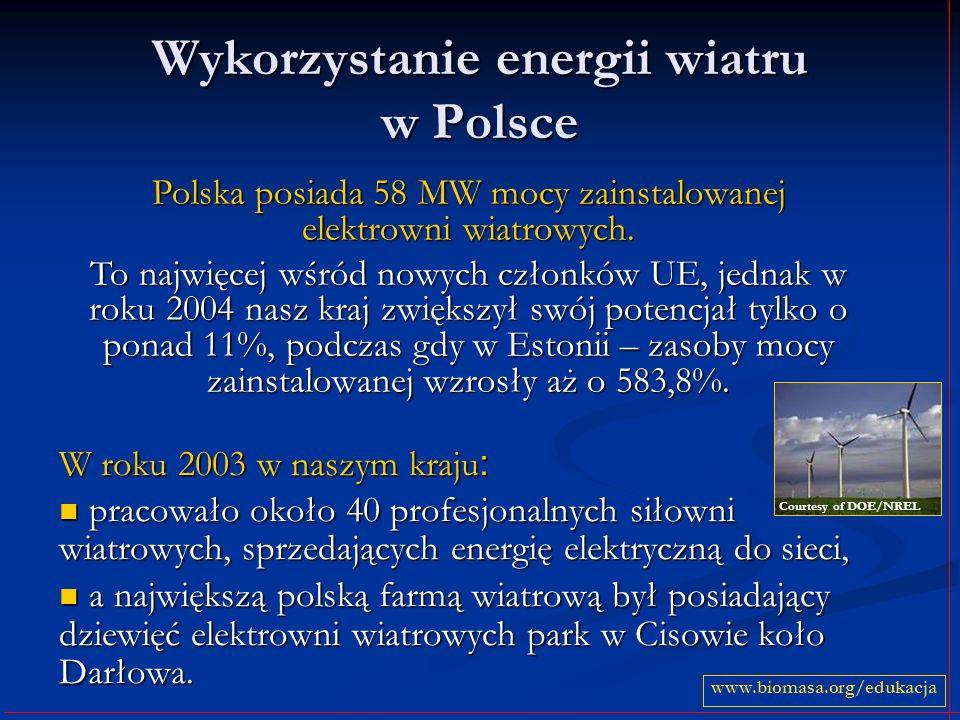 Wykorzystanie energii wiatru w Polsce W roku 2003 w naszym kraju : pracowało około 40 profesjonalnych siłowni wiatrowych, sprzedających energię elektr