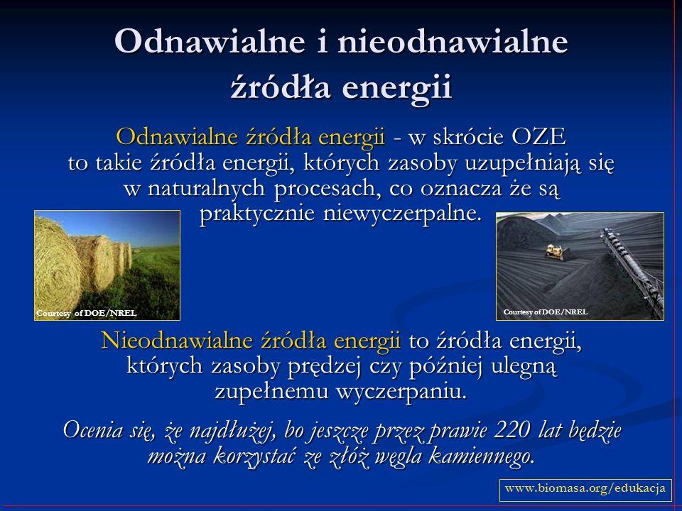 Odnawialne i nieodnawialne źródła energii Odnawialne źródła energii - w skrócie OZE to takie źródła energii, których zasoby uzupełniają się w naturaln