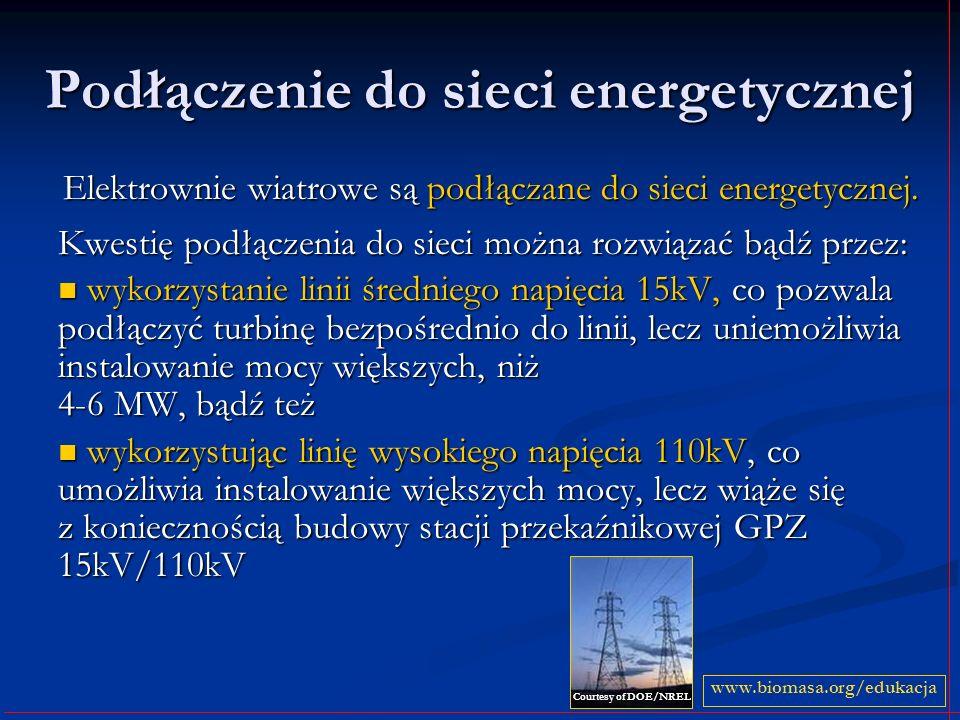 Podłączenie do sieci energetycznej Elektrownie wiatrowe są podłączane do sieci energetycznej. Kwestię podłączenia do sieci można rozwiązać bądź przez: